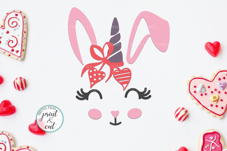Bunny Rabbit faces Flowers Unicorn Horn Crown Bandana svg example image 8