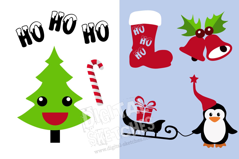 Christmas Cut File Set Penguin Tree Santa Vector Silhouette example image 3
