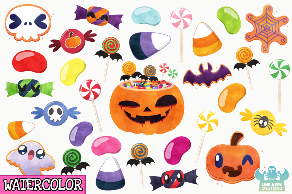 Halloween Candy Watercolor Clipart, Instant Download example image 2
