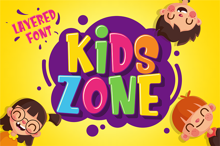 Kids Zone // Layered Font example image 1