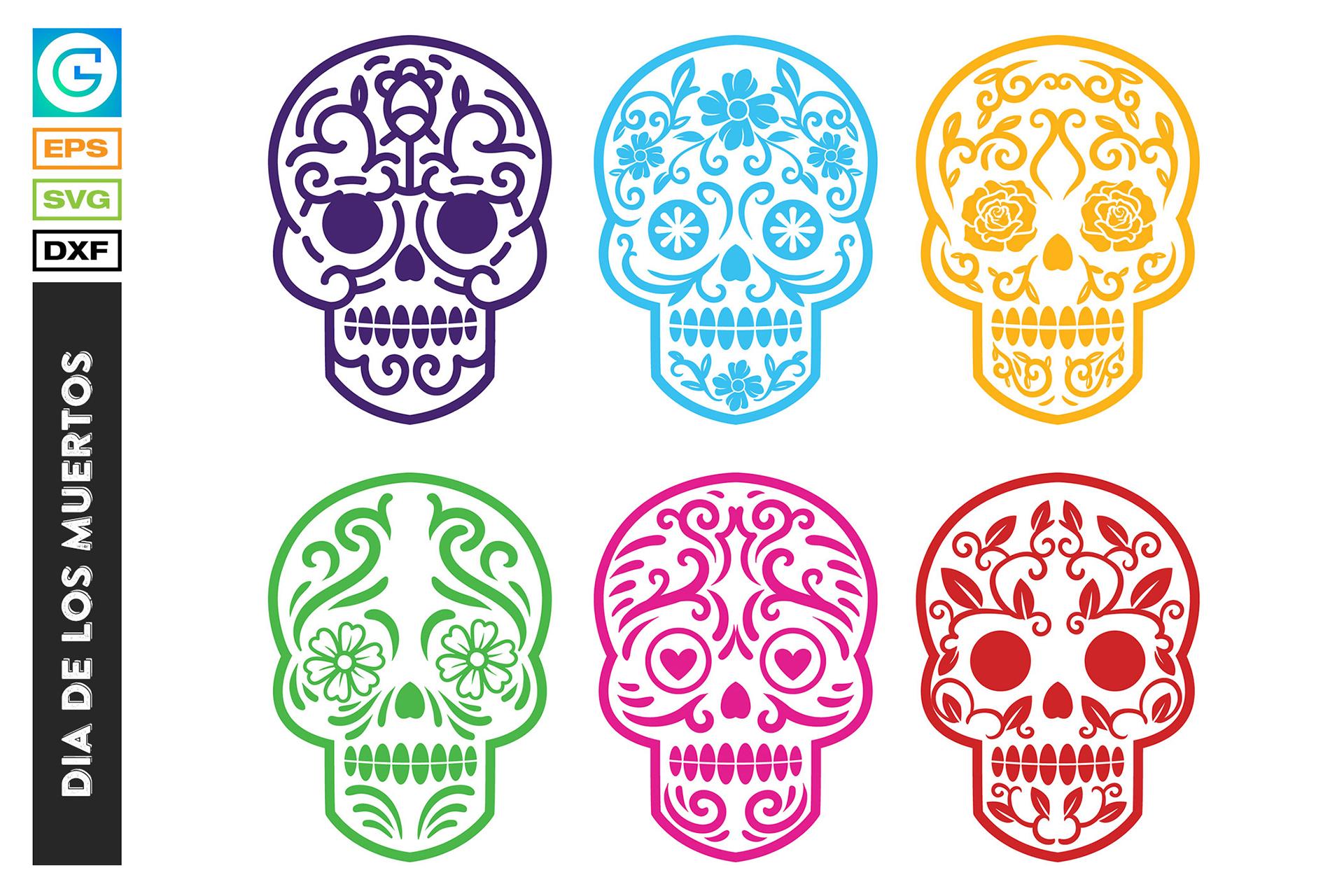 36 Dia de los muertos SVG, Day of the dead, sugar skull example image 7