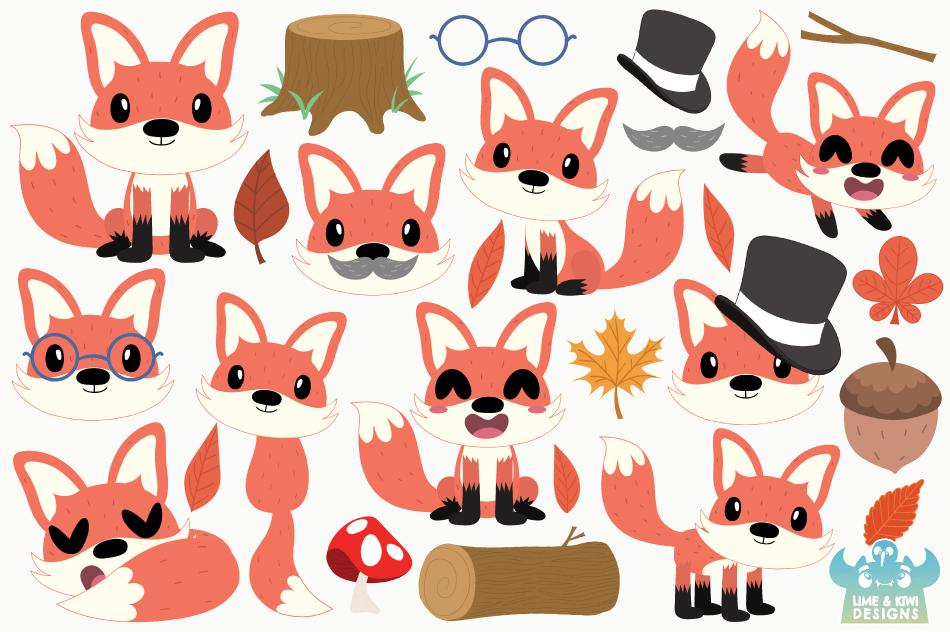 Fox Boys Clipart, Instant Download Vector Art example image 2