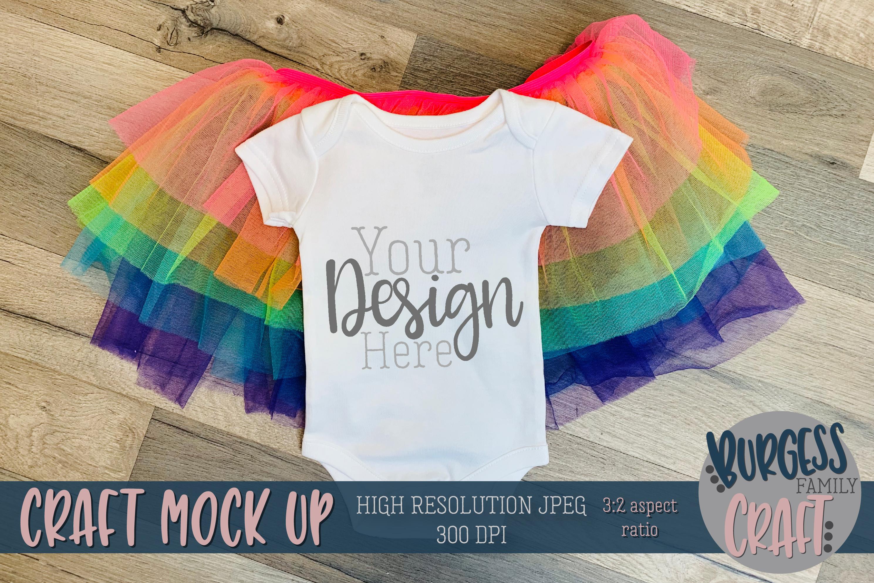Rainbow tutu baby bodysuit Craft mock up |High Res JPEG example image 1