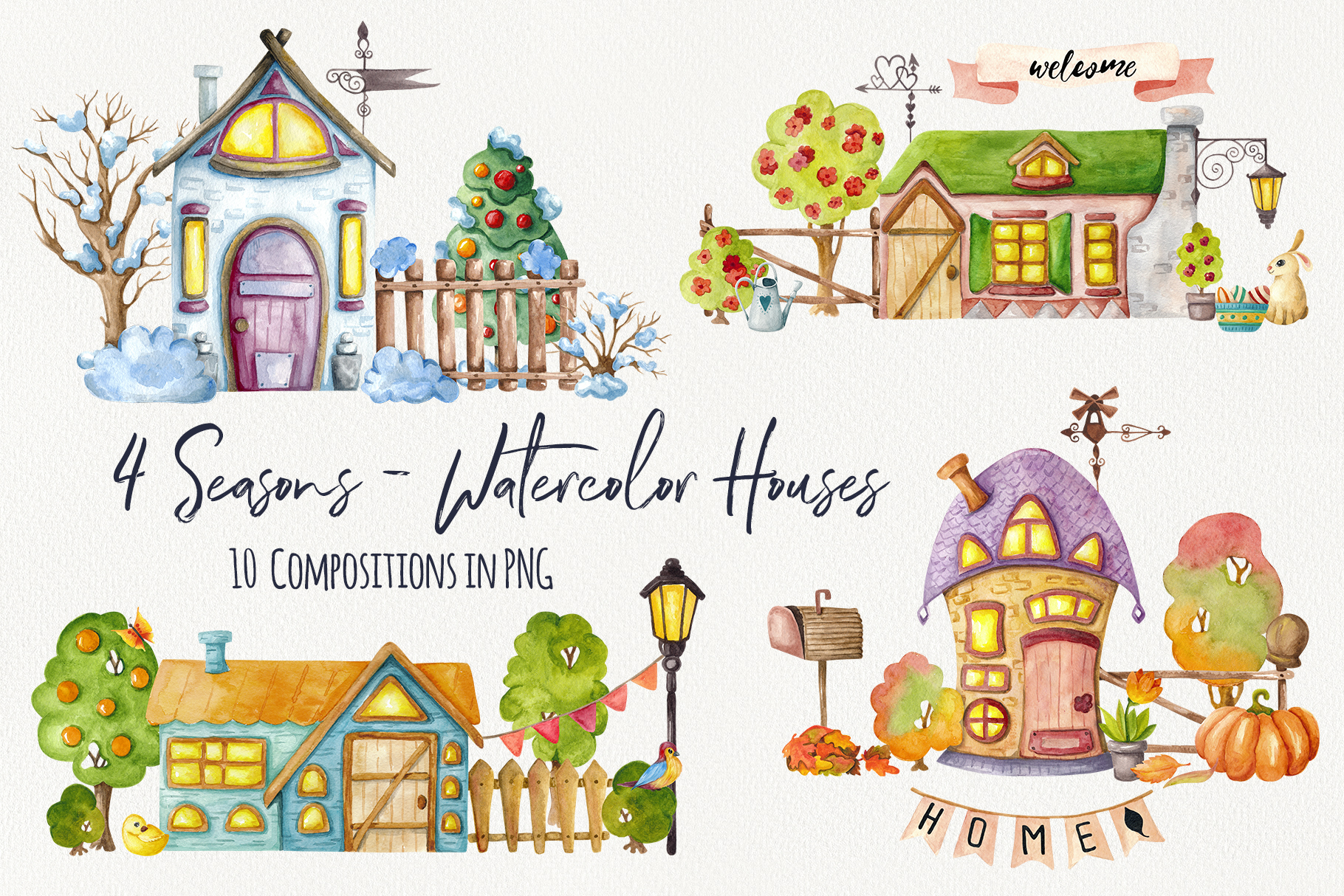 4 Seasons - Watercolor Houses example image 6
