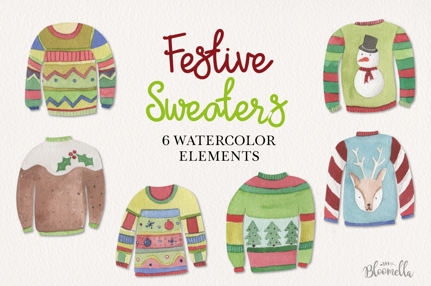 Festive Jumpers Watercolor Elements Christmas Sweaters Xmas example image 1