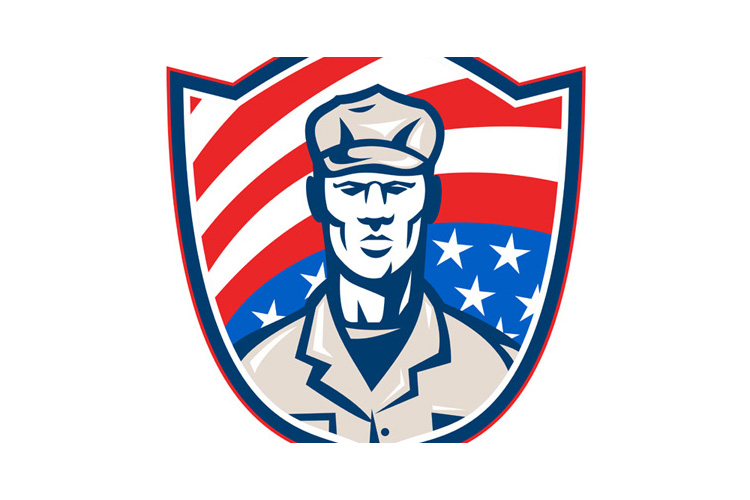 American Soldier With Stars and Stripes Shield Retro example image 1