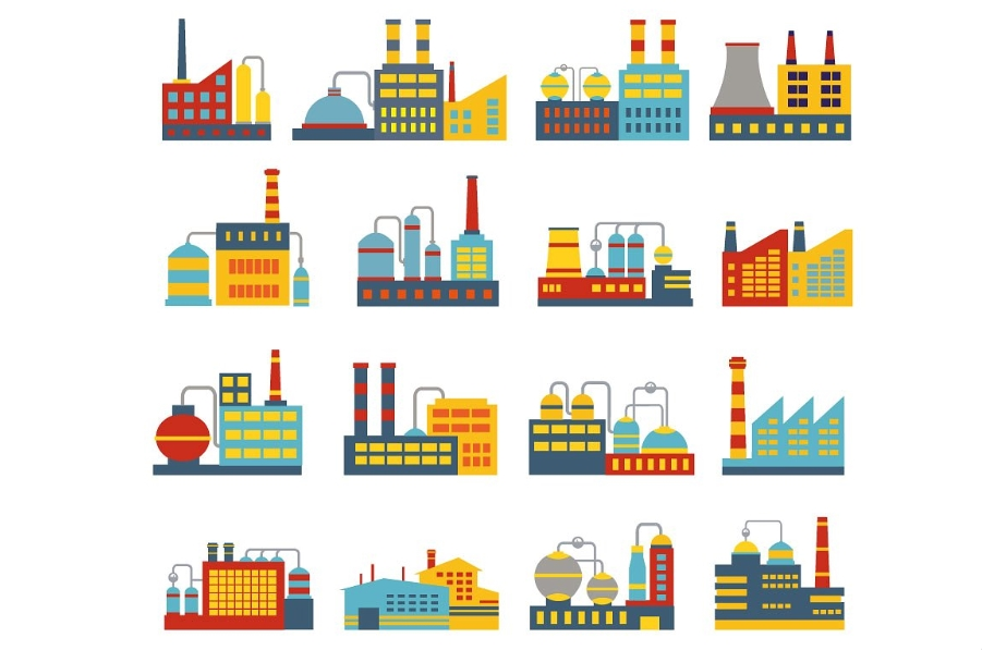 Set of vector industrial buildings example image 2