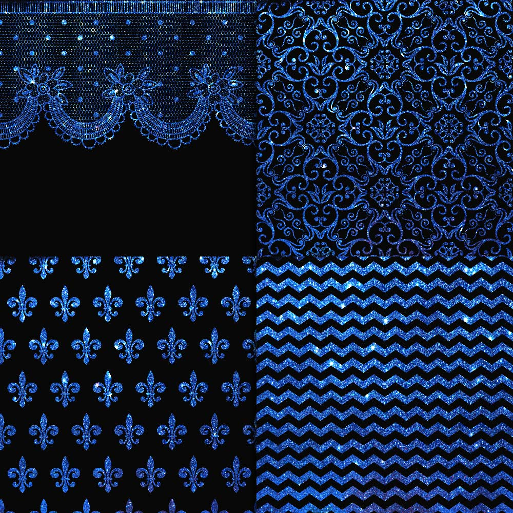 Blue Glitter & Black Digital Paper example image 4