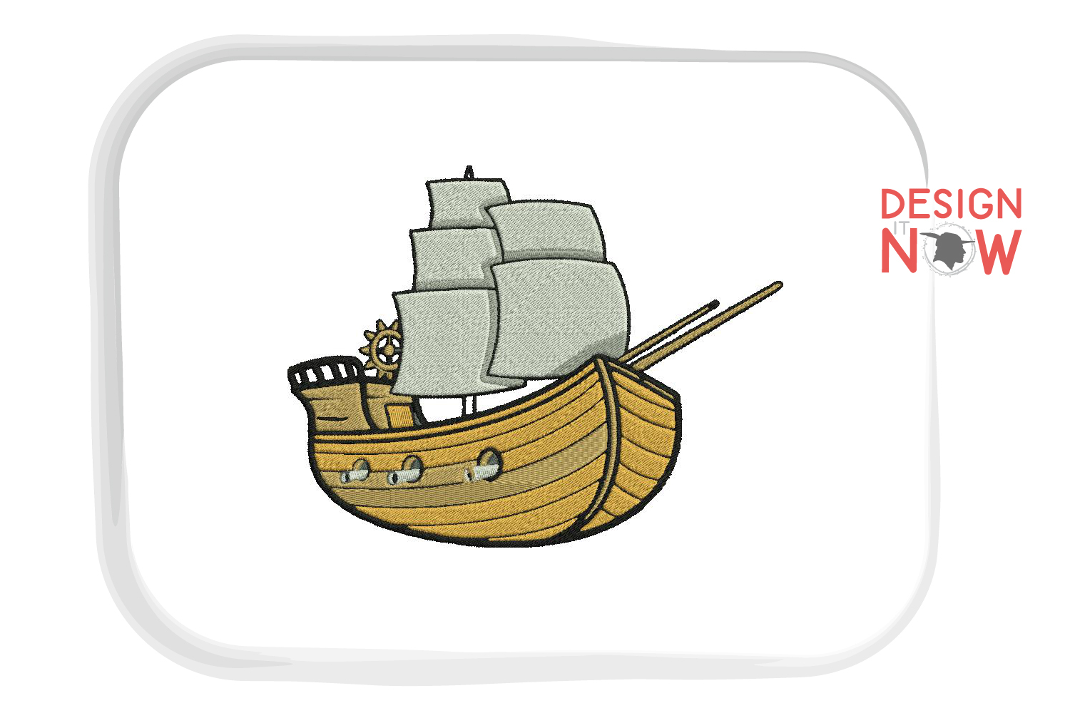 Boat Embroidery Design, Sailing Ship Embroidery Pattern, Sea example image 2
