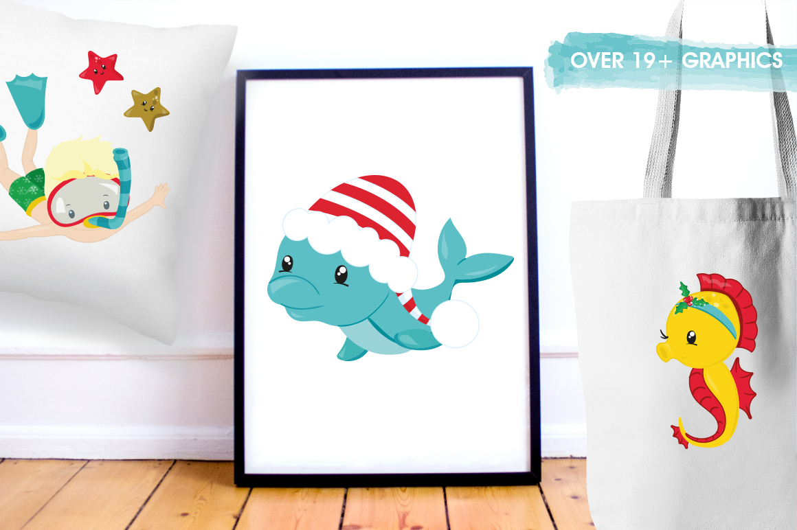 Christmas underwater graphics and illustrations example image 5