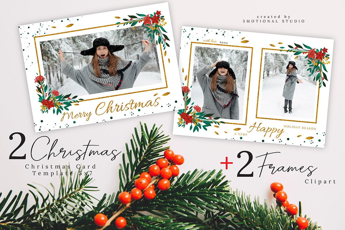 Merry Christmas Card Template 5x7 example image 1