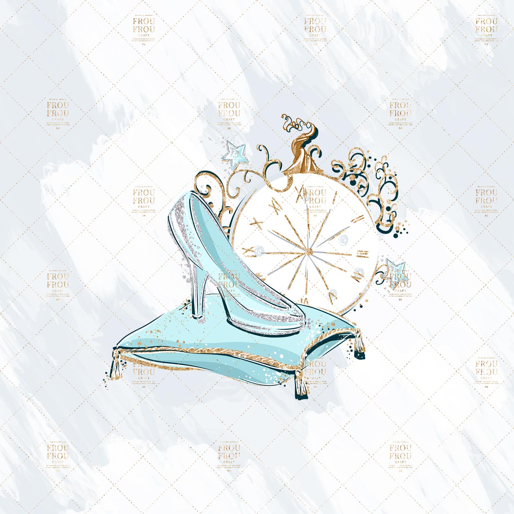 Princess Cinderella Fairy Tale Gold Glitter Clip Art example image 4