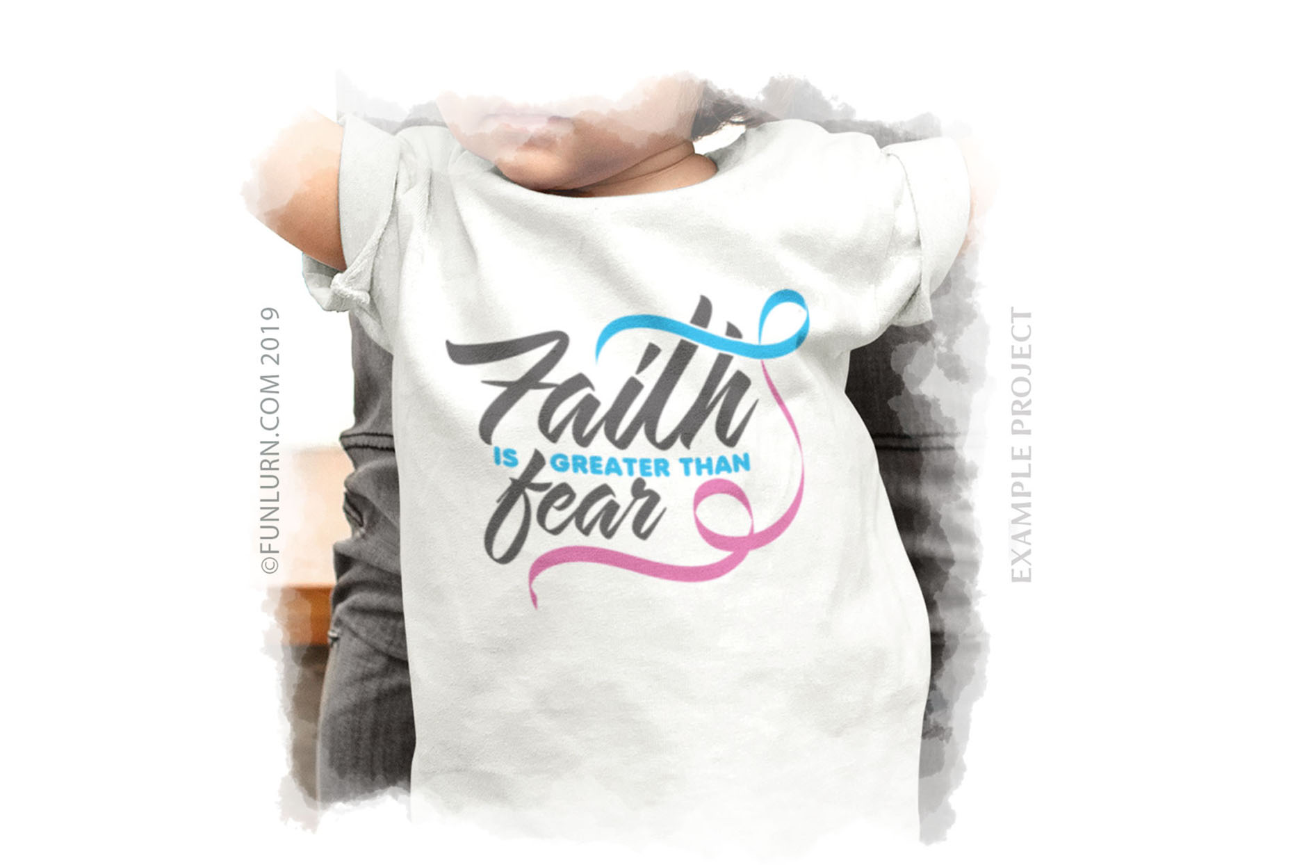 Faith is Greater Than Fear Blue and Pink Ribbon SVG Cut File example image 3