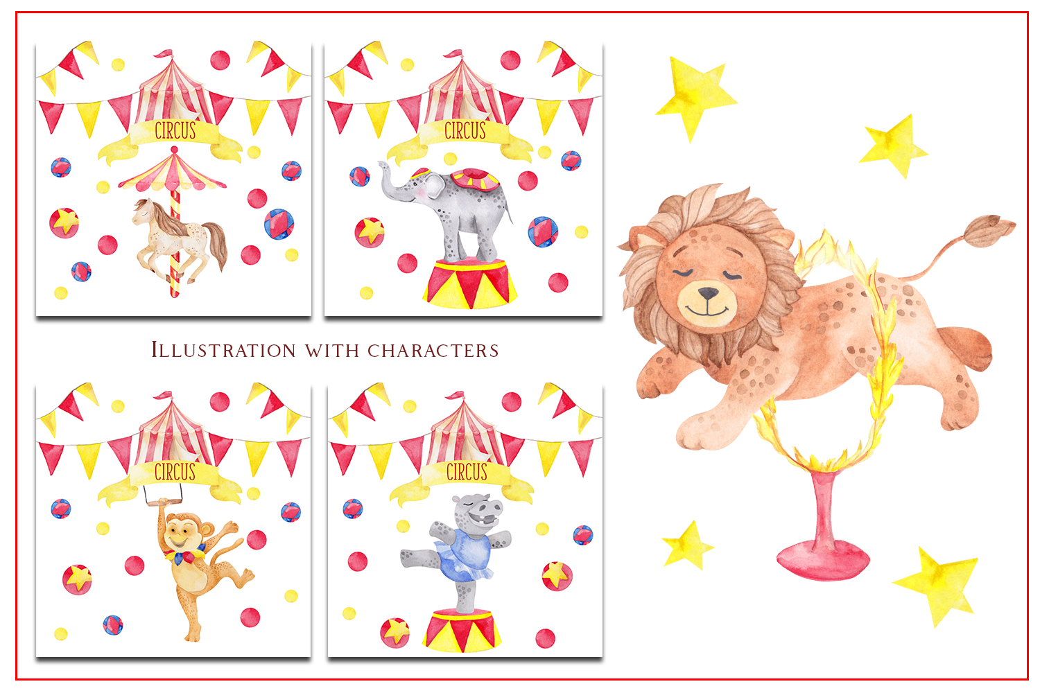 Circus. Watercolor clipart example image 5