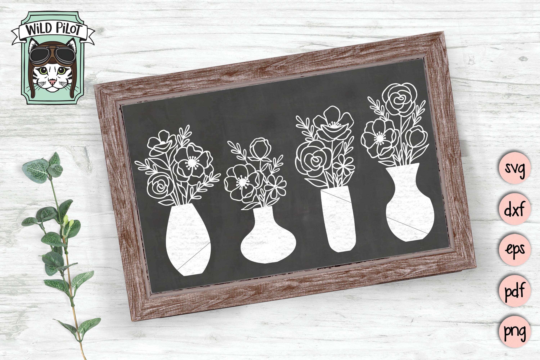 Flower VaseSVG file, Floral Vase cut file, Bouquet clipart example image 2