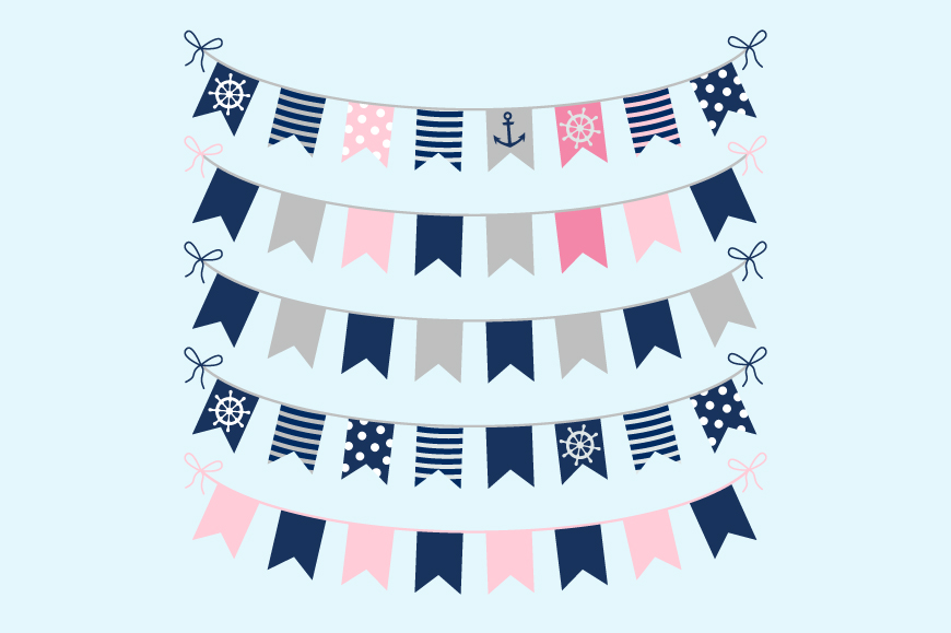 Cute nautical bunting clipart, Girl birthday party banner example image 2