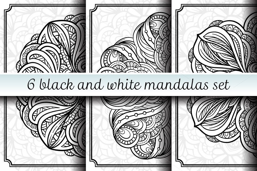 Black and white mandalas set example image 1
