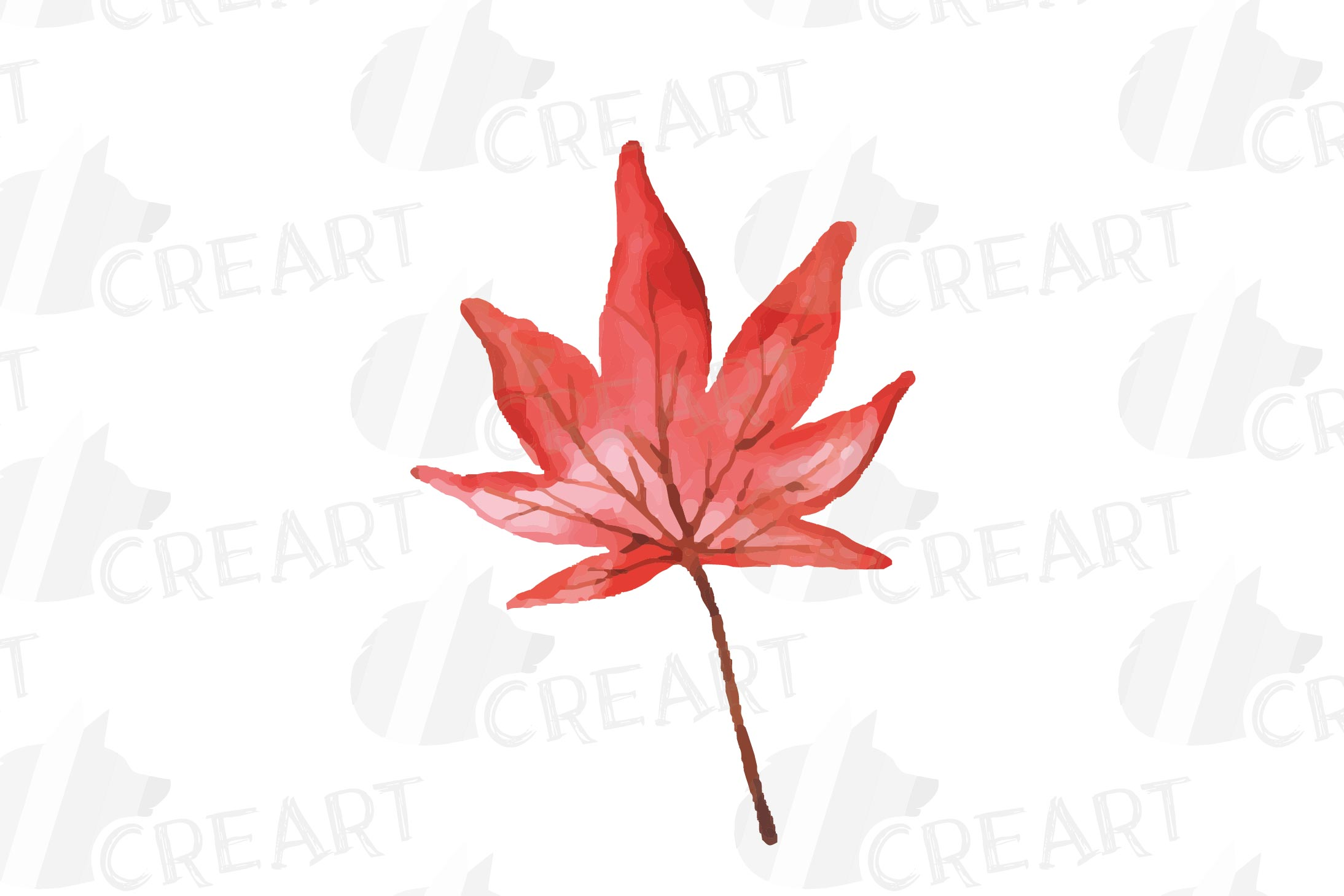 Printable autumn leaves watercolor decoration clip art pack. example image 12