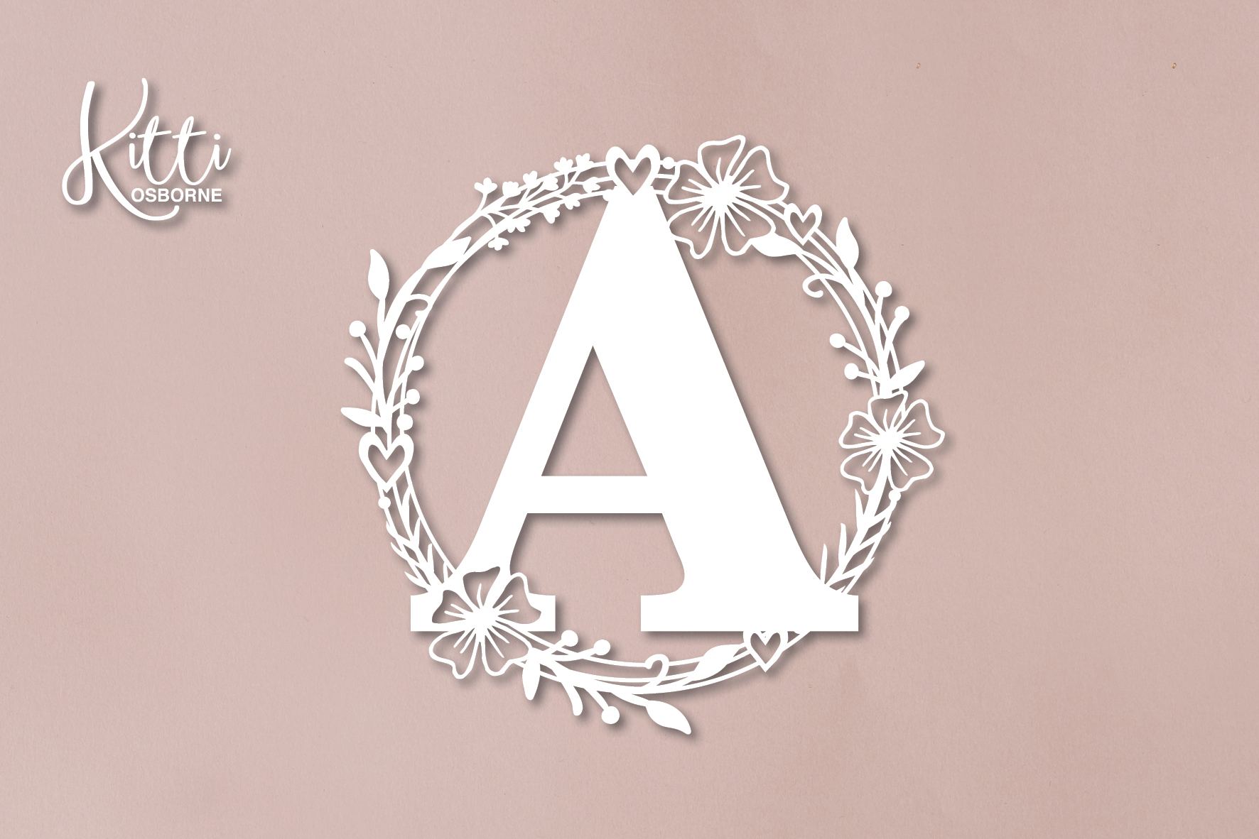 Flower Wreath Monograms A-Z example image 2