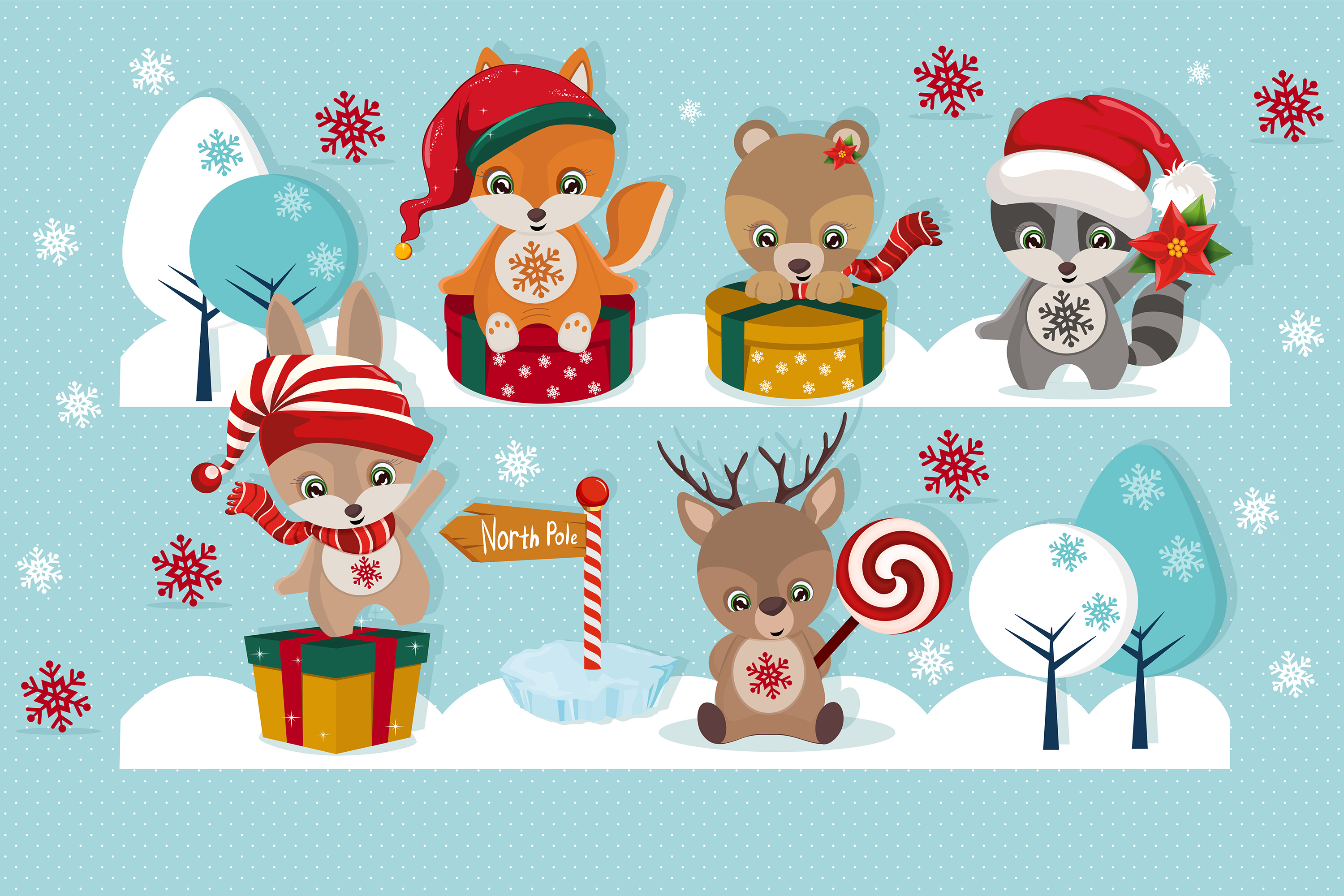 Christmas Illustration.Christmas Clipart Christmas Illustration Baby Animals