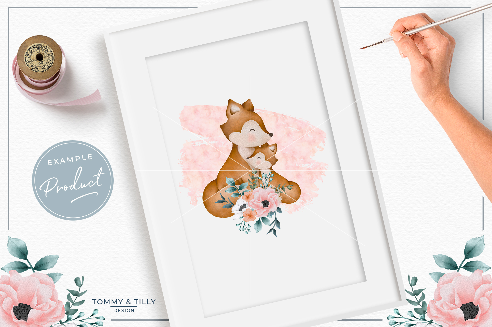 Floral Pink Mummy and Baby Fox - Sublimation PNG Clipart example image 3