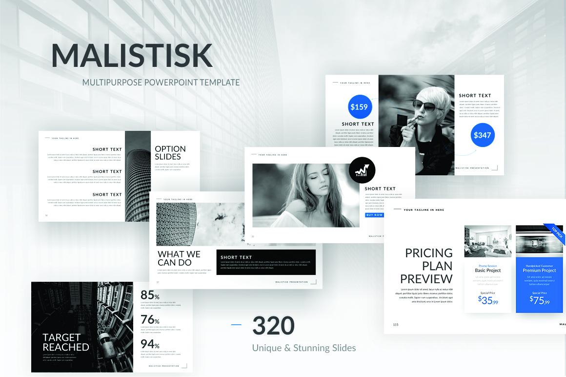 Malistisk Multipurpose Powerpoint example image 1