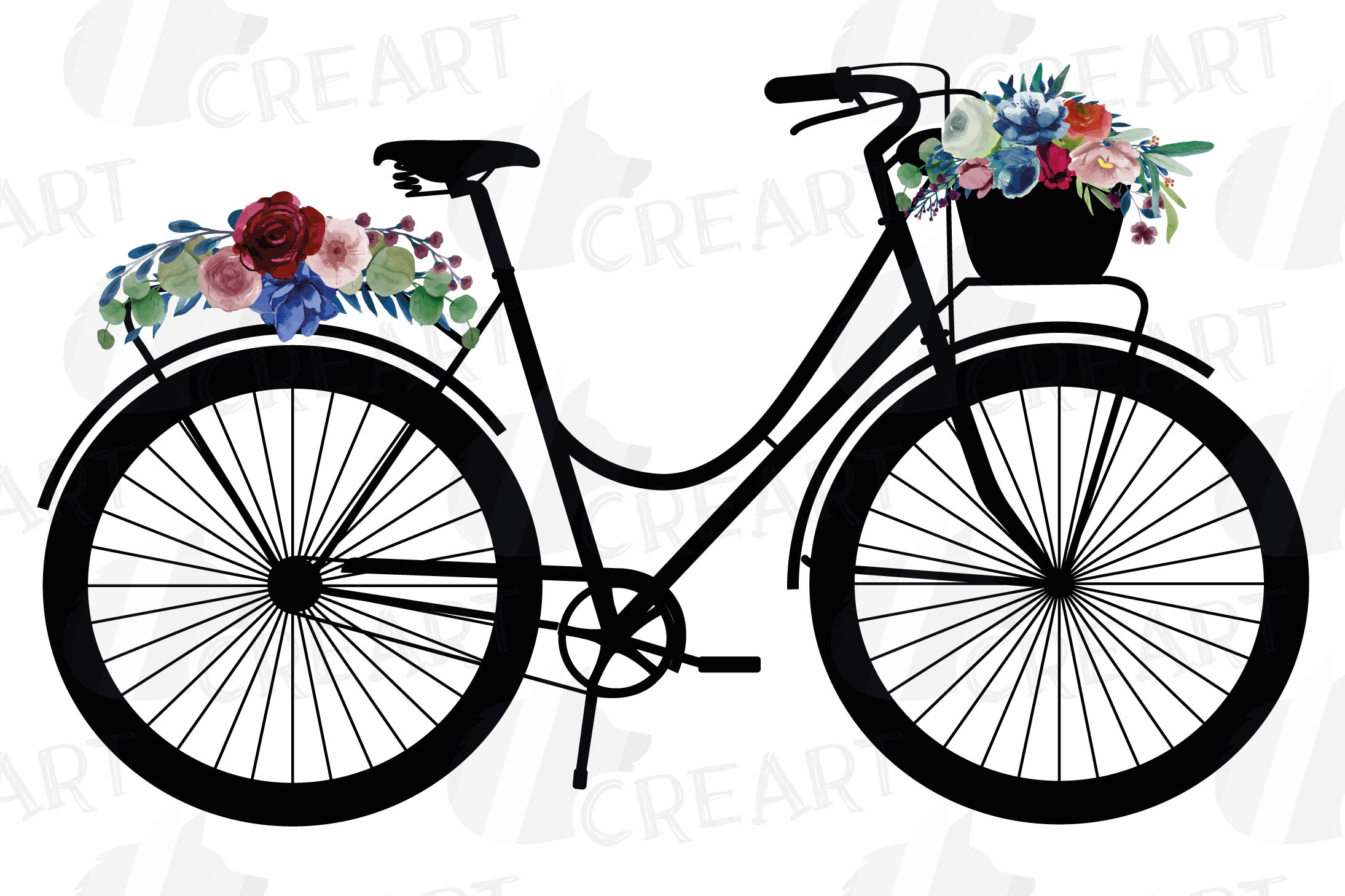Floral bicycles with watercolor bouquets decoration clip art example image 3