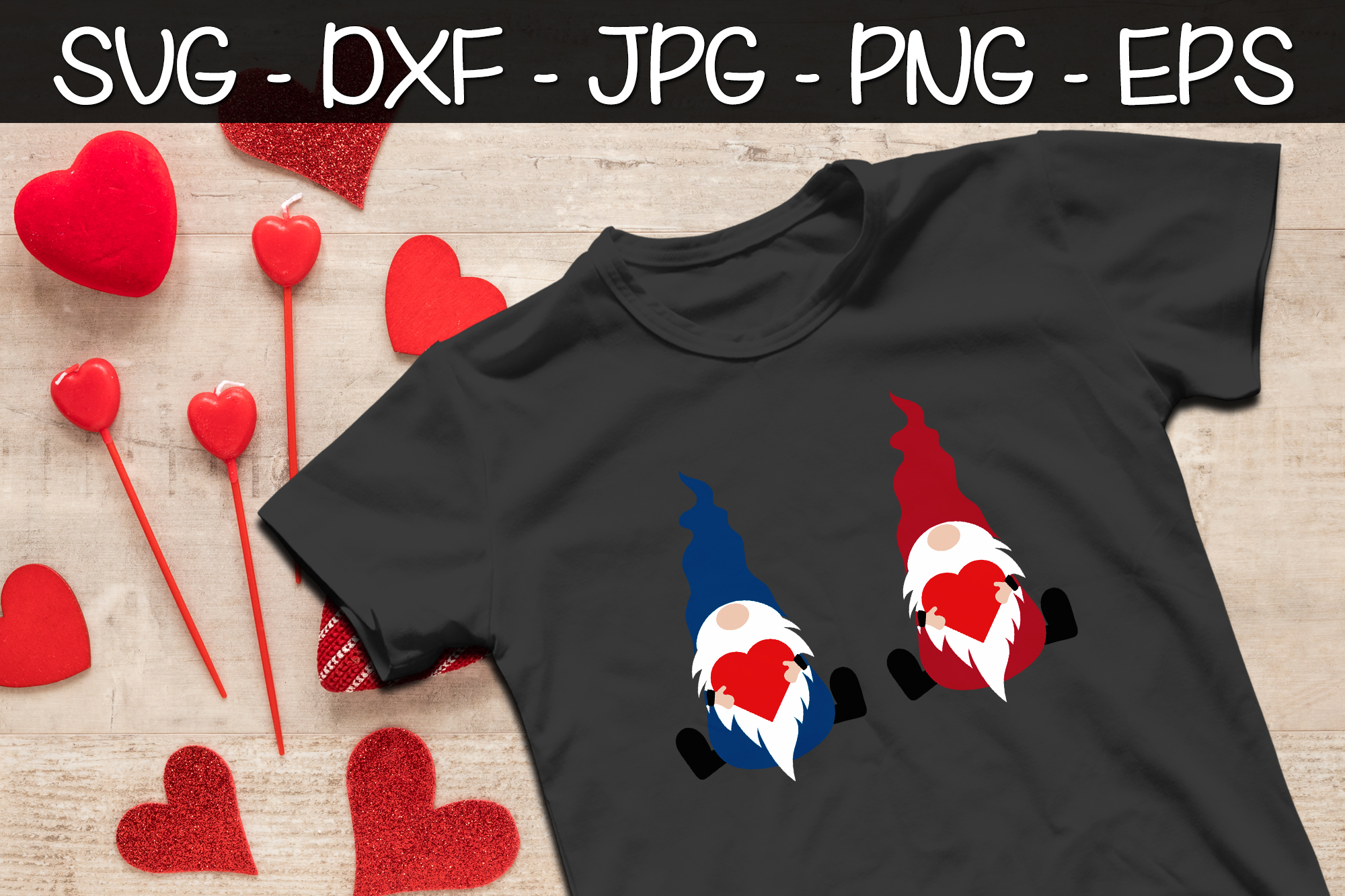 Valentine Gnomes Heart SVG EPS PNG Valentine's Day Gnomes example image 2