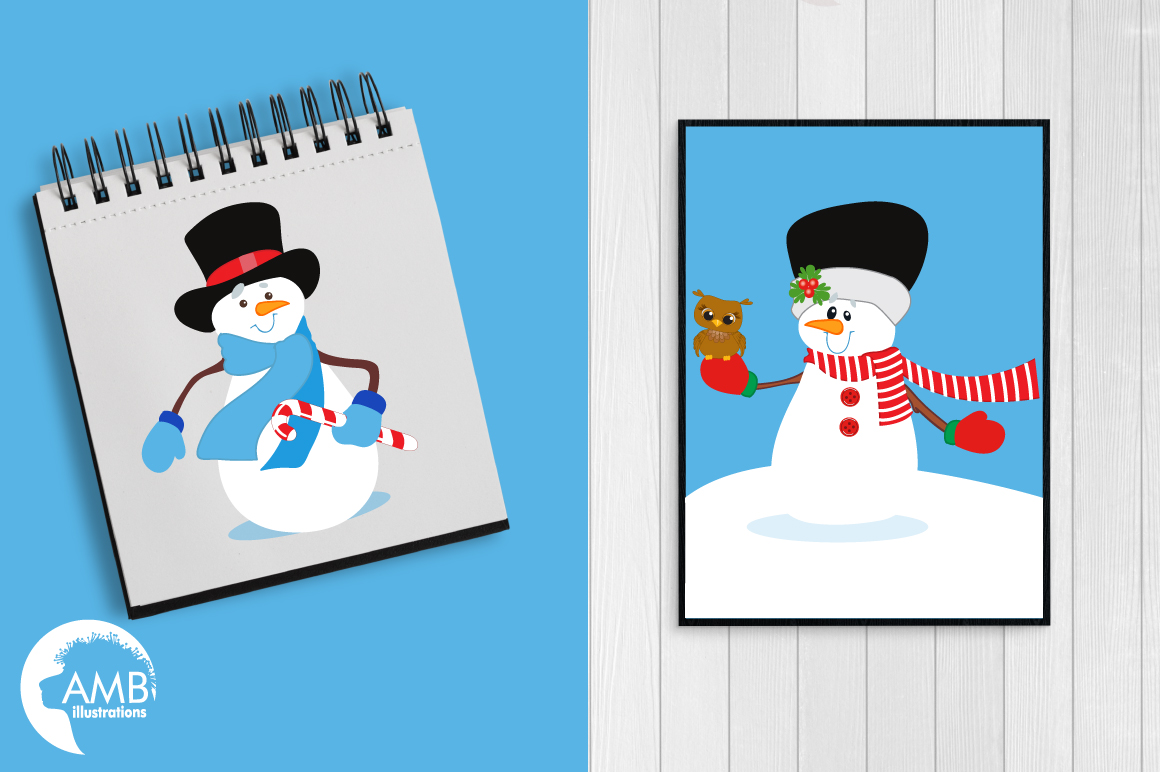 Snowmen in tophats clipart, graphics, illustrations AMB-502 example image 3