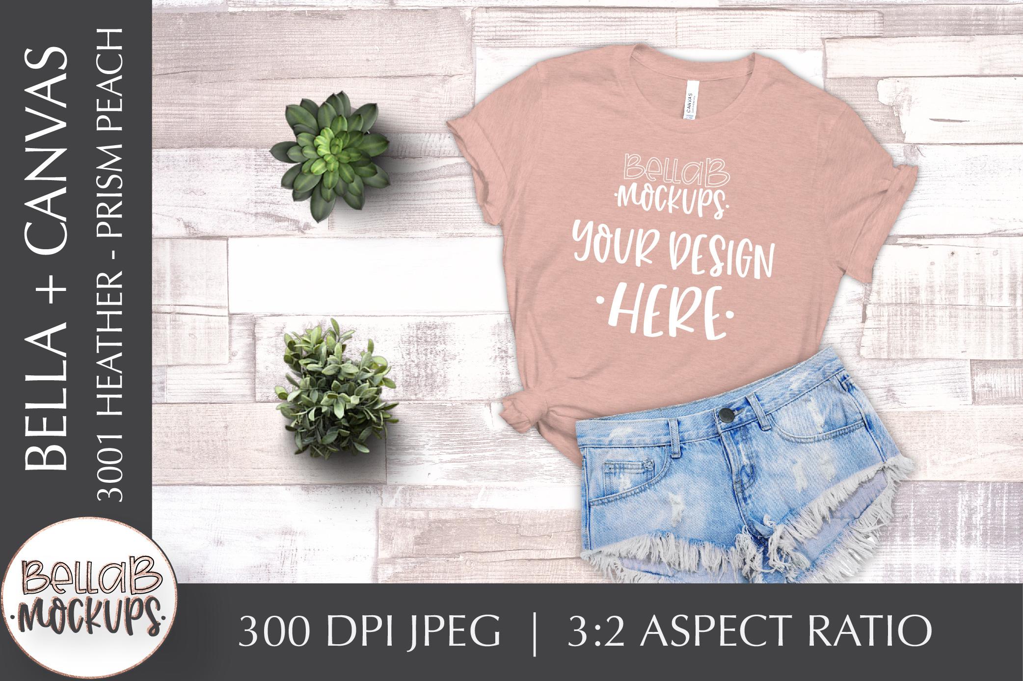 Bella Canvas T Shirt Mockup Bundle, Heather 3001, Summer example image 7