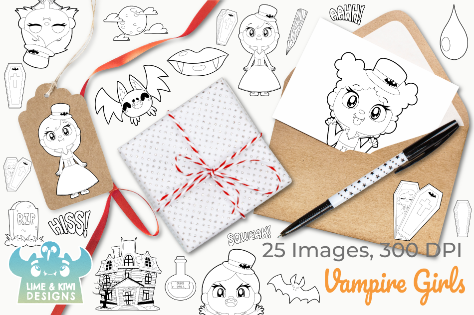 Vampire Girls Digital Stamps example image 4