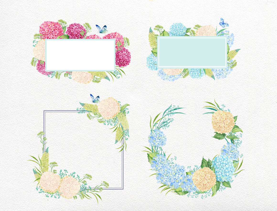 hydrangea watercolor clipart example image 6