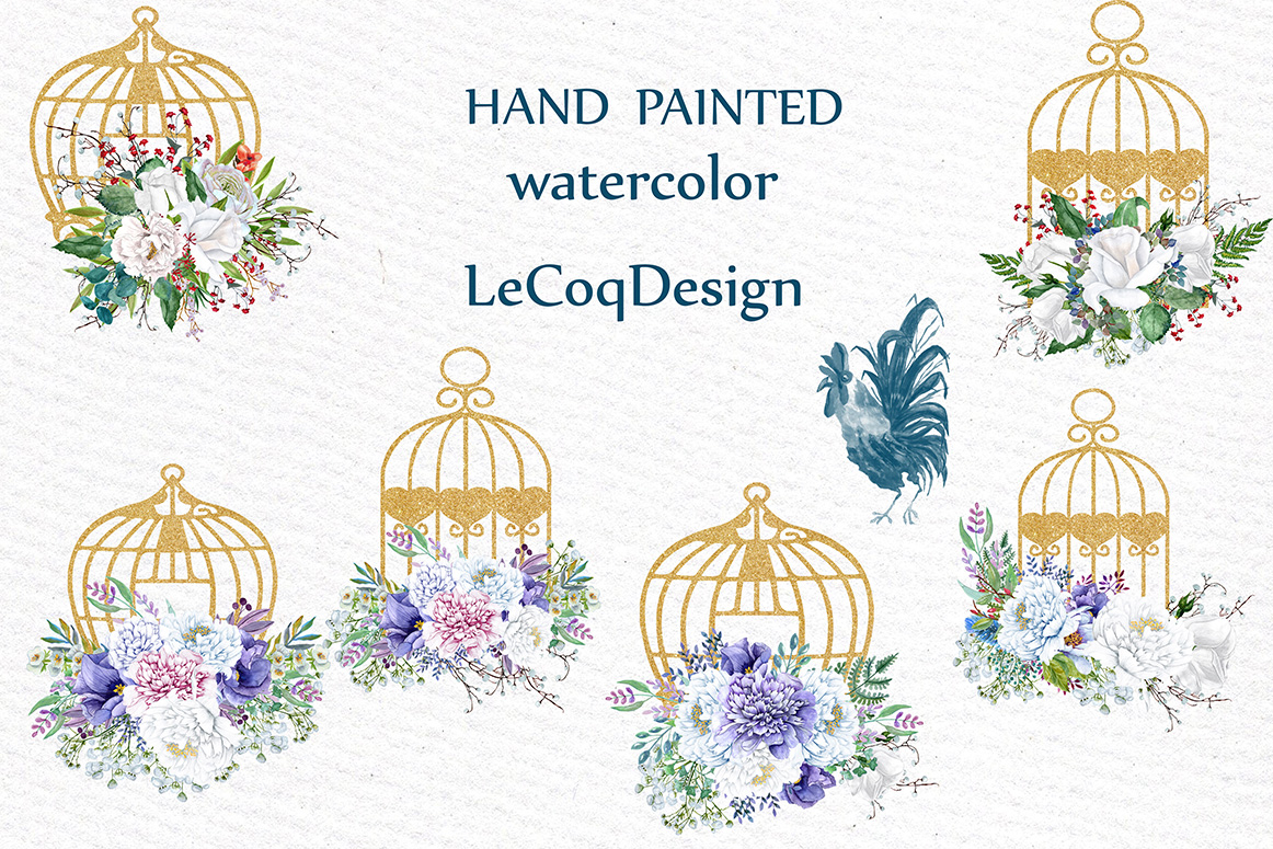 Watercolor white flowers clip art example image 2