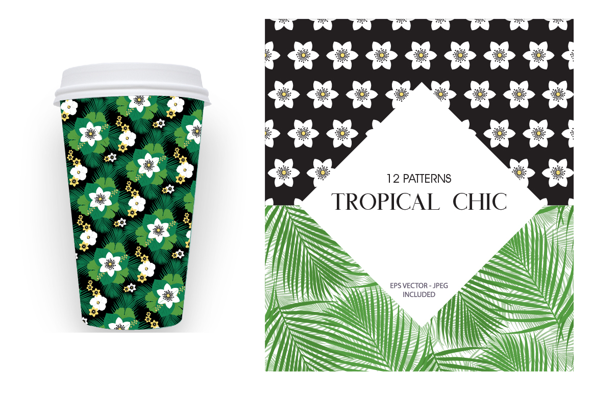 Tropical chic Pattern collection, vector ai, eps and jp example image 4