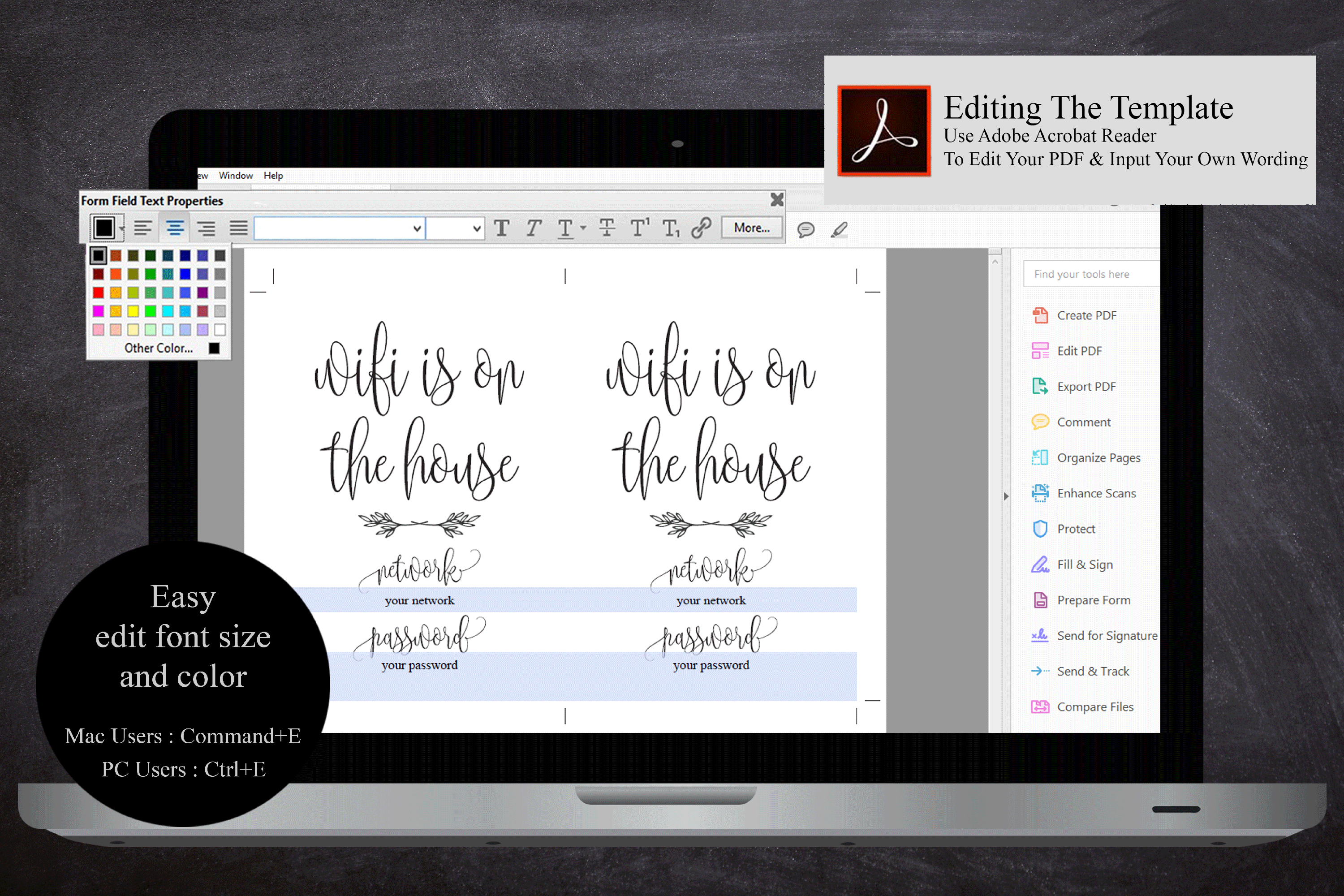 Wifi Password Sign Printable Instant Download, Wifi Sign example image 5