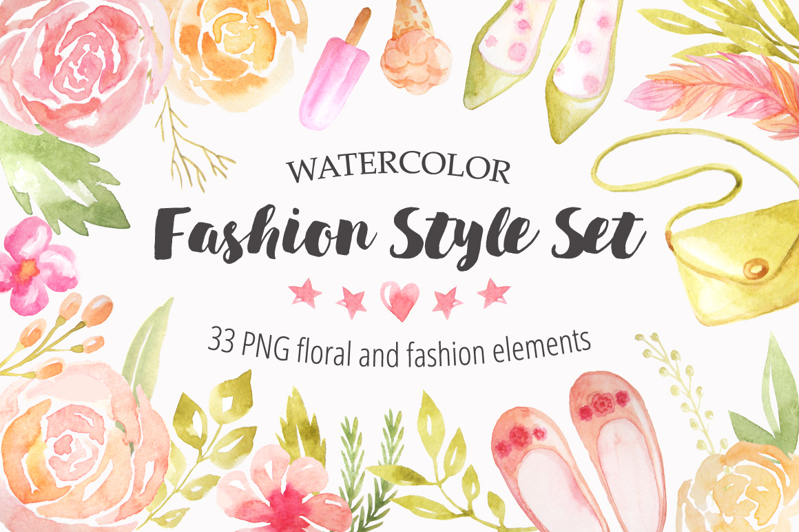 Watercolor Fashion Style Set example image 1