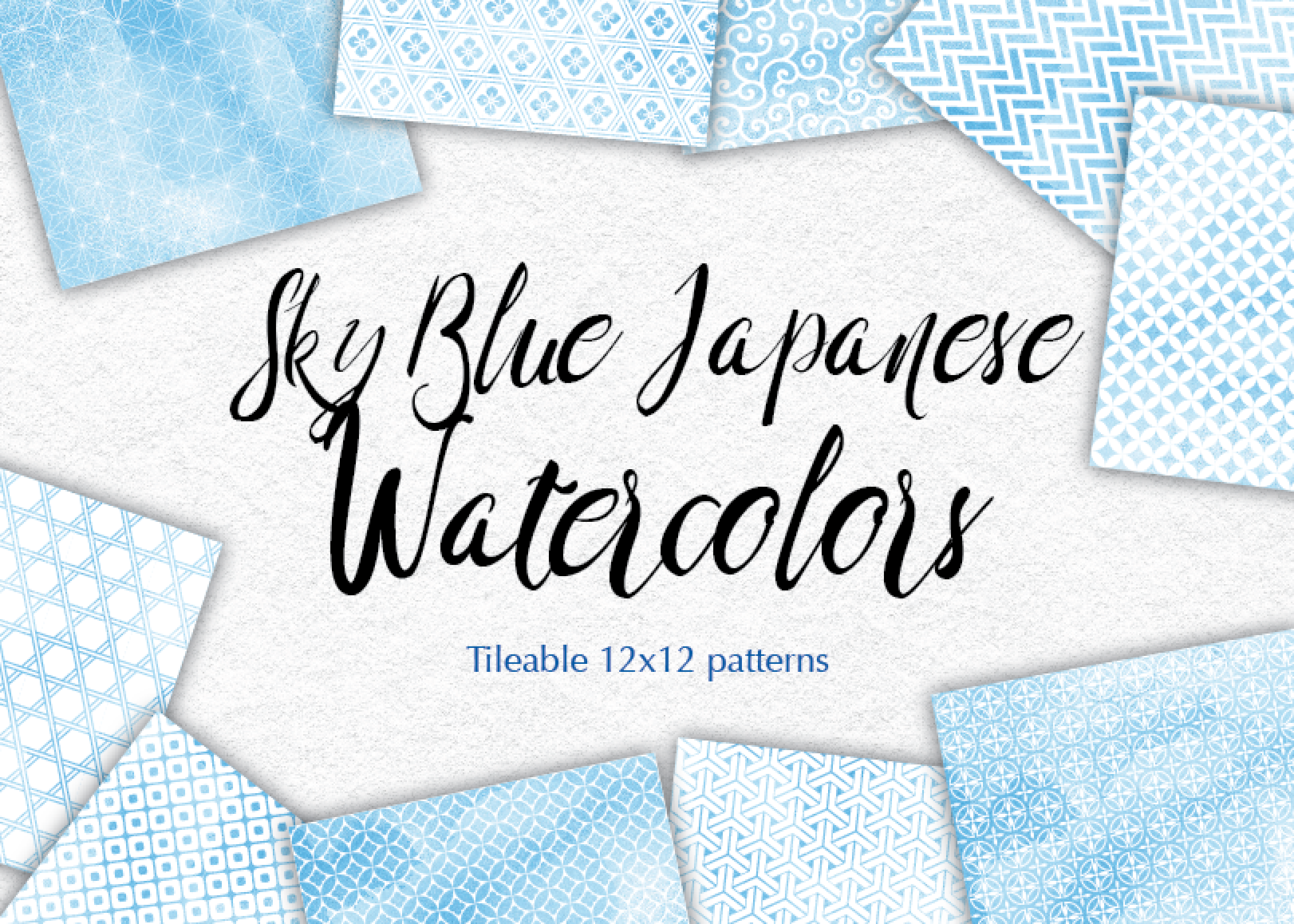 Blue Watercolor Digital Paper Japan Background Patterns Soft Blue example image 2