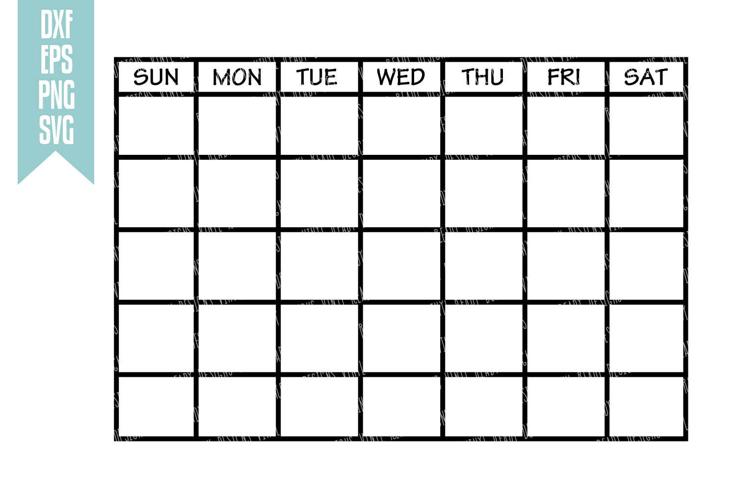 Blank Calendar Svg : Monthly calendar template vector clip art cutting