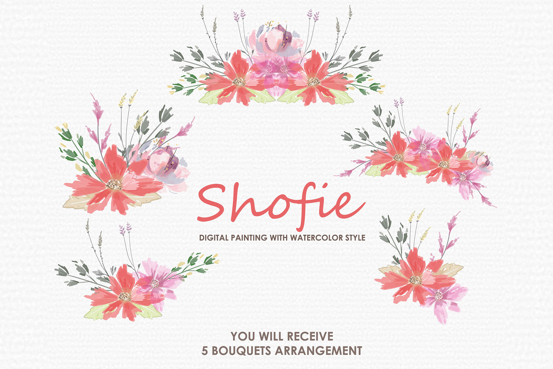 Shofie - Digital Watercolor Floral Flower Style Clipart example image 3