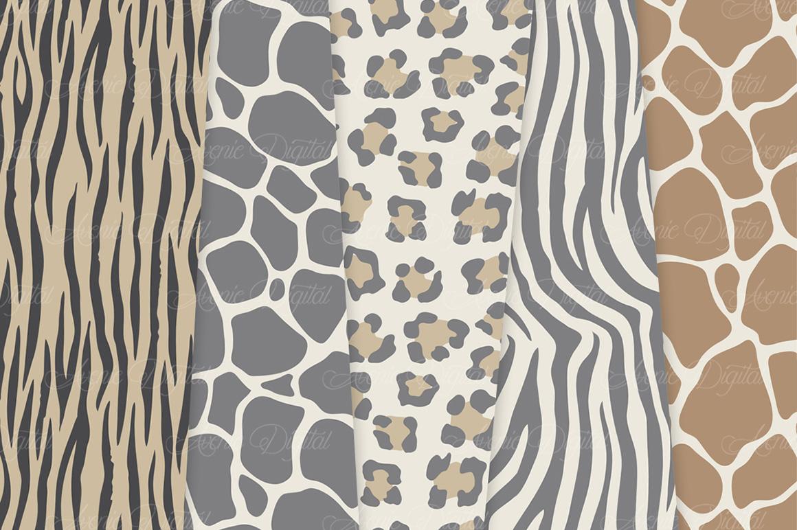 Neutral Animal Print Vector Patterns - Brown Safari Seamless Digital Papers example image 3
