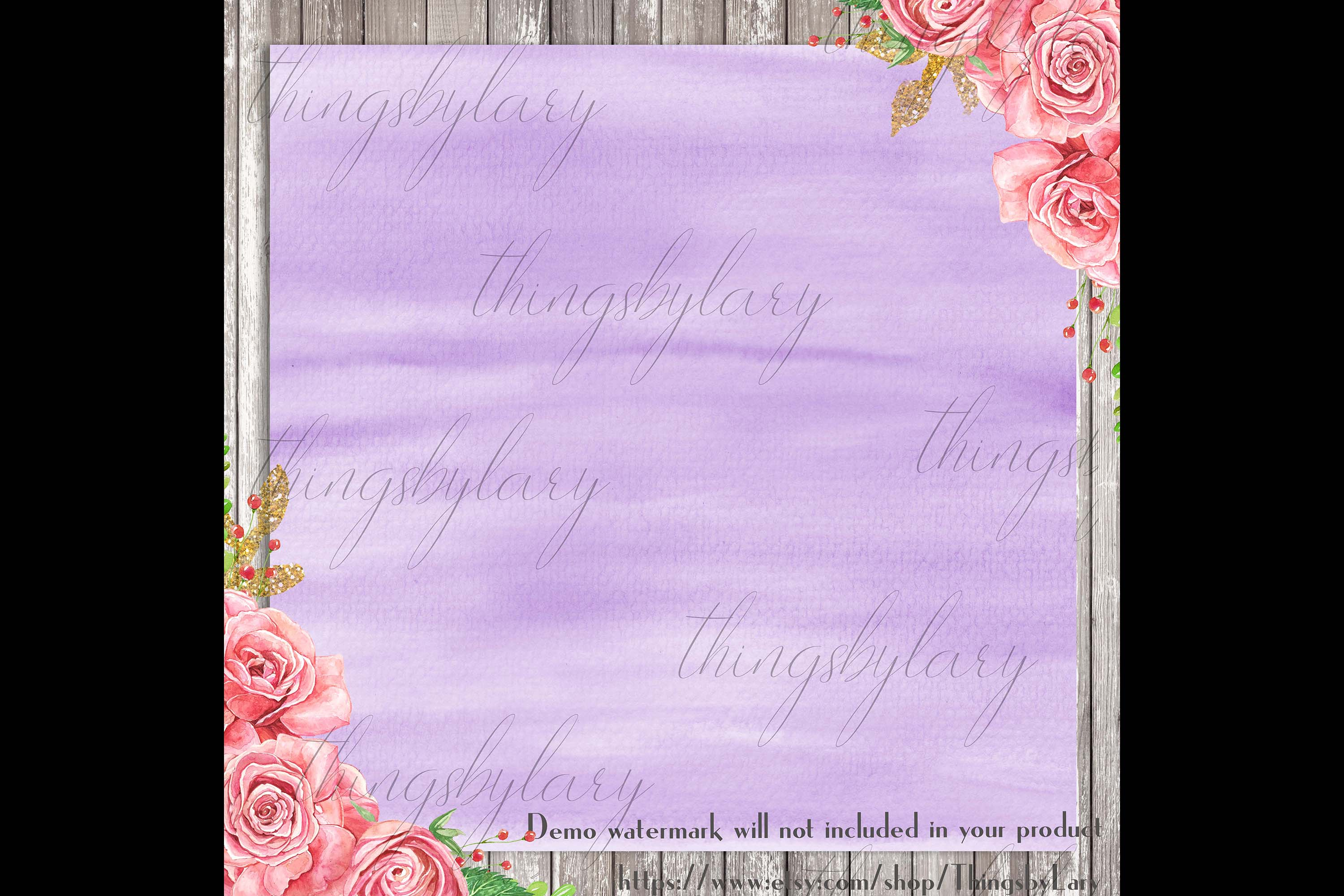 30 Ombre Pastel Lavender Watercolor Painted Digital Papers example image 3