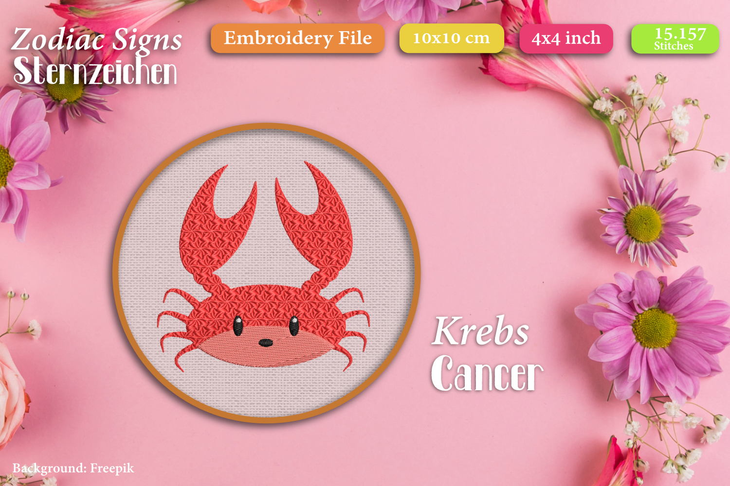 Zodiac sign - Cancer - Embroidery Files example image 1
