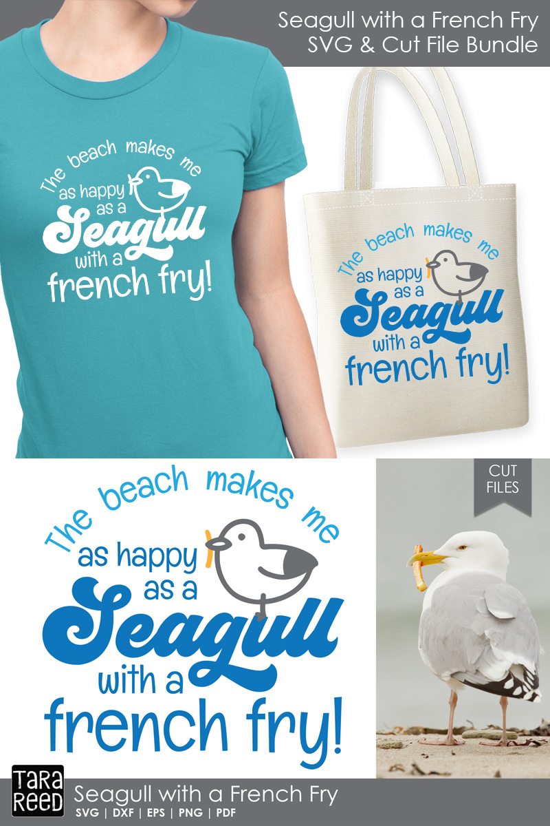 Seagull with a French Fry - Beach SVG and Cut Files example image 3