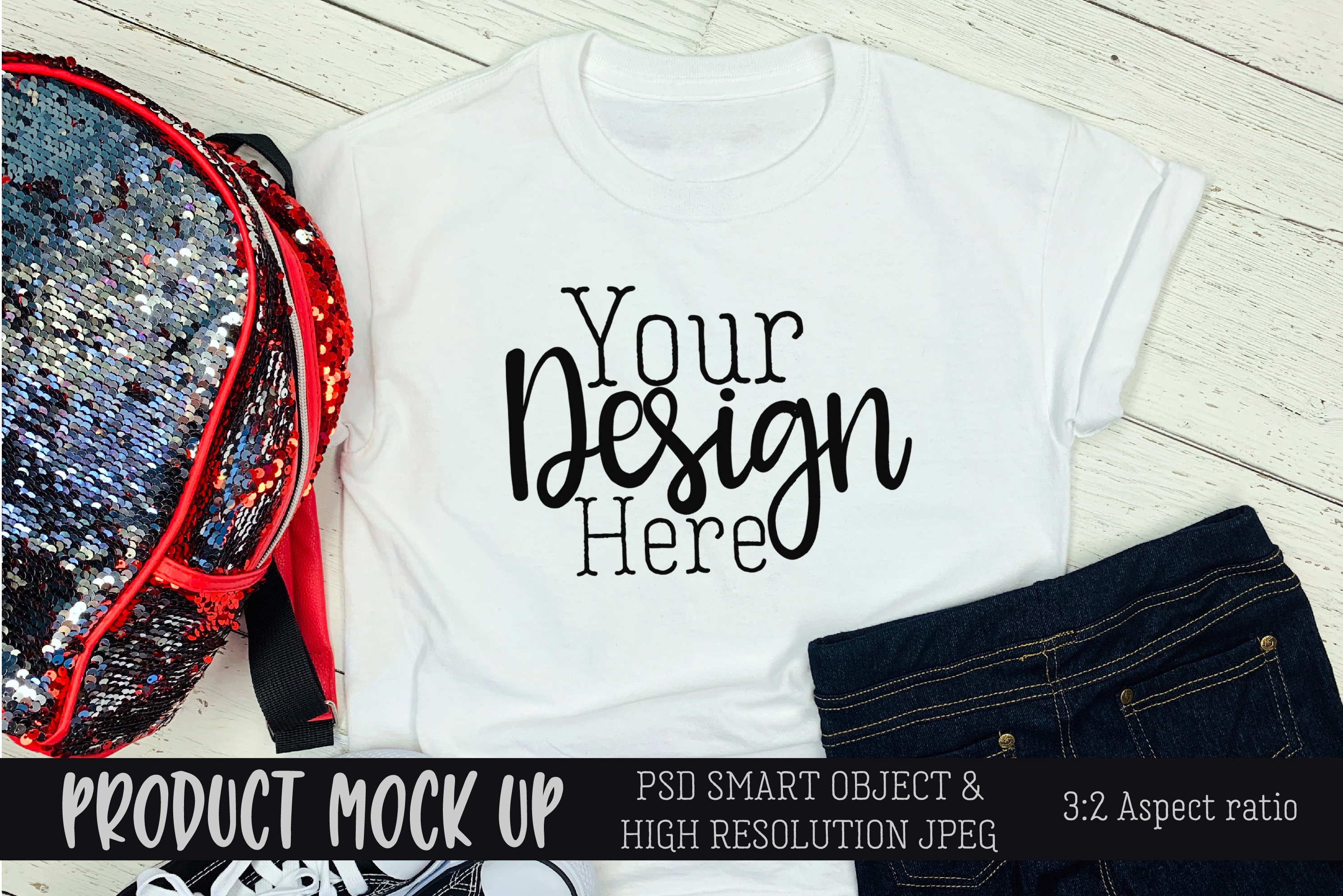 Youth white t-shirt backpack Craft mock up   PSD & JPEG example image 1