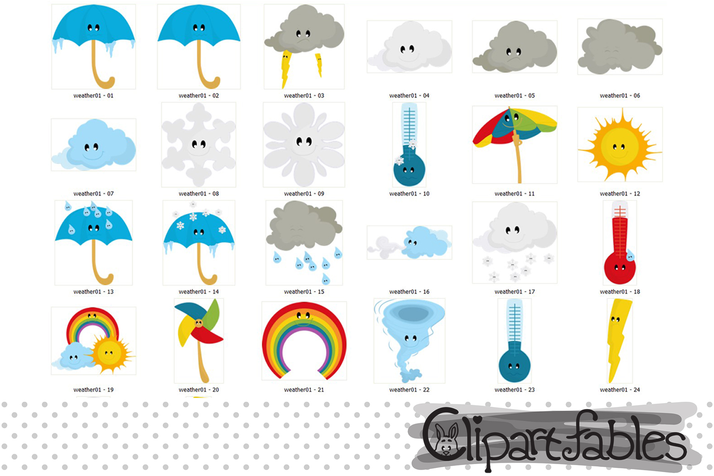 Weather Clipart, cute cloud clip art, Kawaii Clipart Set example image 2