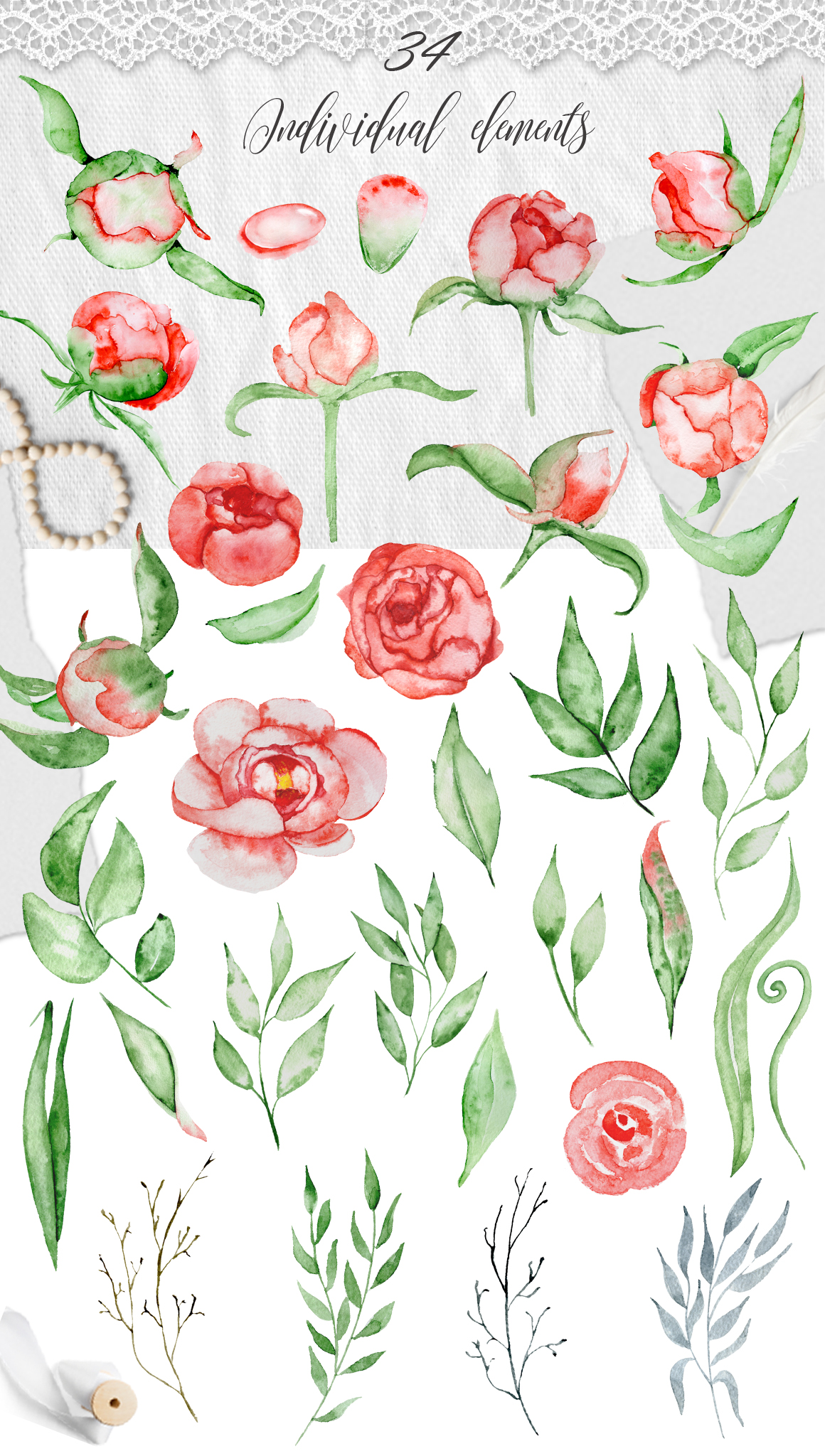 Watercolor peonies romantic floral clipart example image 5
