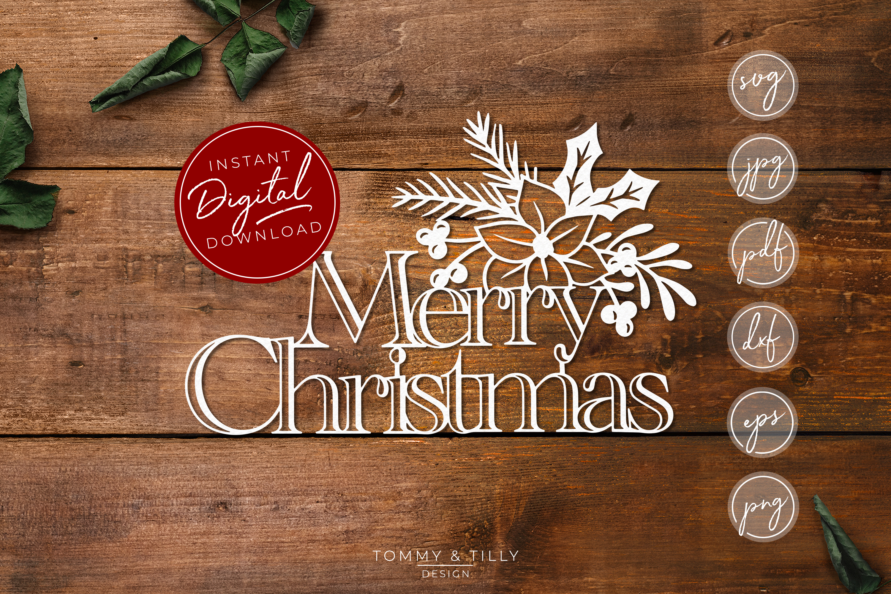 Merry Christmas - SVG EPS DXF PNG PDF JPG example image 1