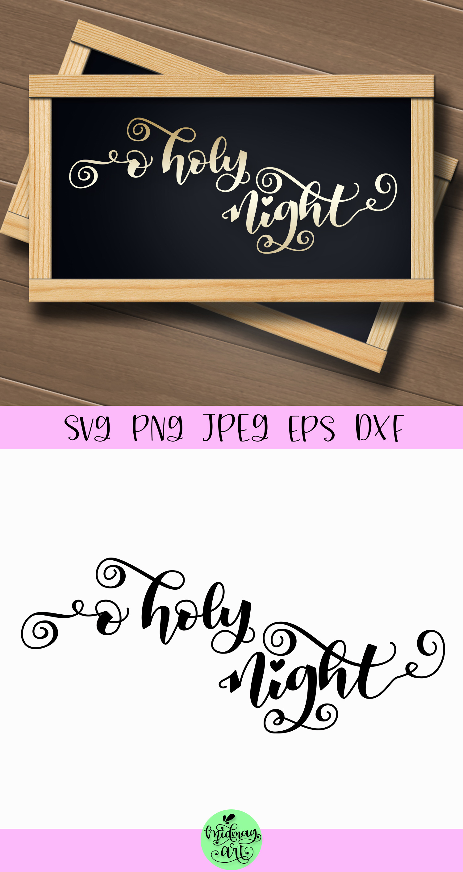 O holy night sign svg, christmas wood sign svg example image 2