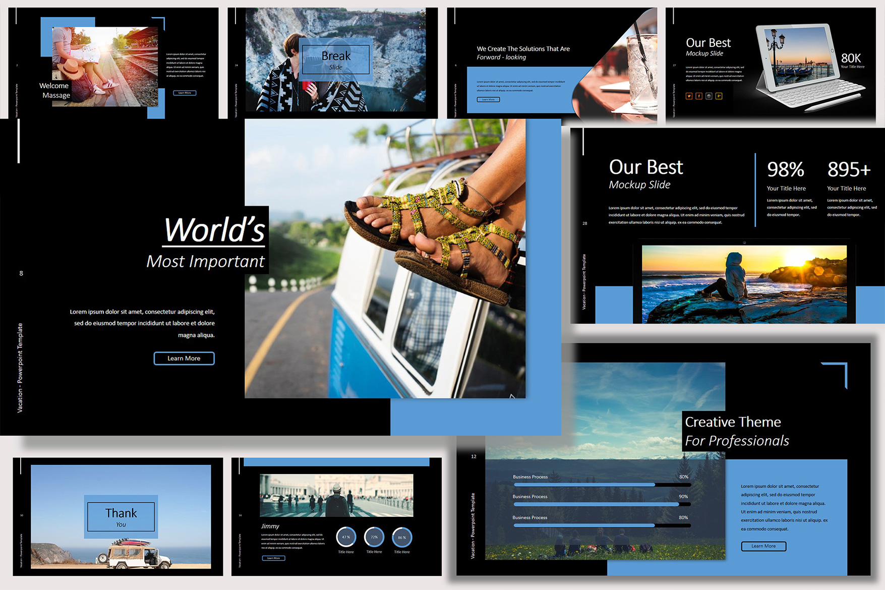 Vacation Lookbook Dark Powerpoint Template example image 2