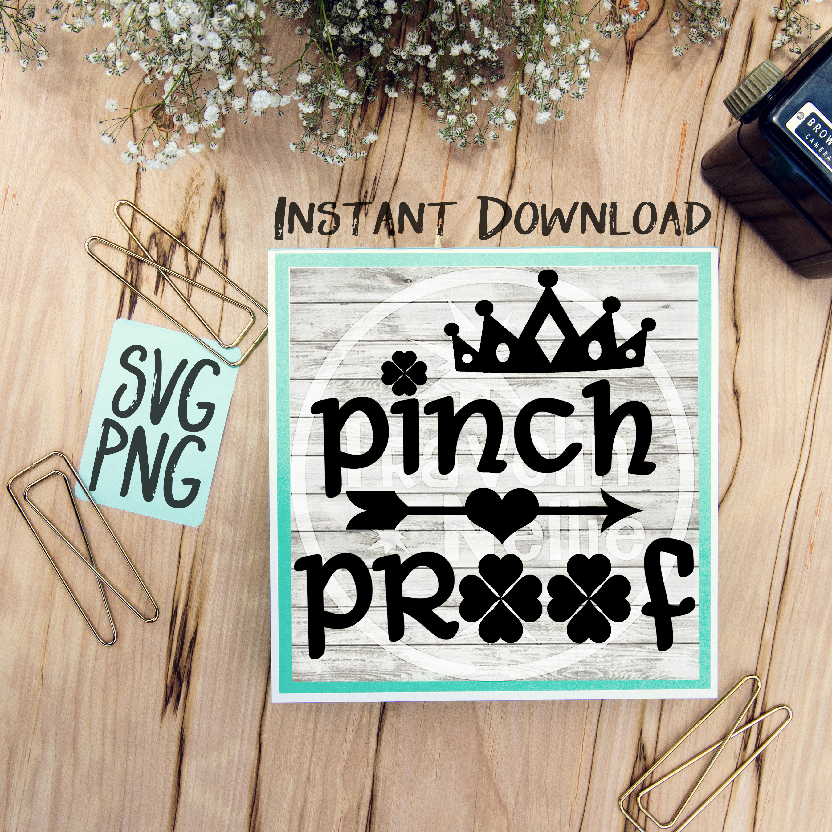 Pinch Proof SVG PNG Image Design for Cut Machines Print DIY Design Brother Cricut Cameo Cutout St. Patrick's Day Irish Clover Lucky example image 1